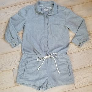 MADEWELL Stripe Coverall Shorts Romper XS